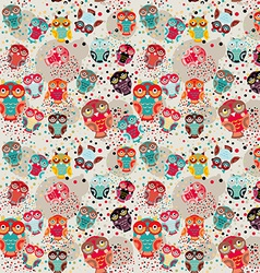 Seamless pattern with colorful owls on cream vector image