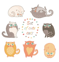 Seven of cute cats vector image vector image