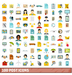 100 post icons set flat style vector