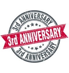 3rd anniversary round grunge ribbon stamp vector image