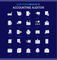 Accounting auditor white icon over blue vector