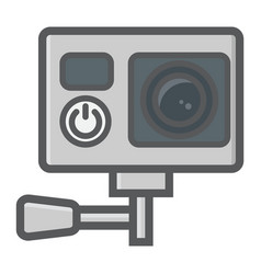 Action camera colorful line icon device vector