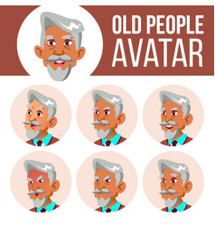 arab muslim old man avatar set face vector image