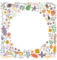 Autumn frame with flowers leaves and branches vector