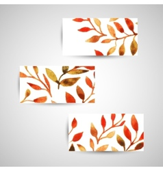 Autumn watercolor leaf pattern template vector