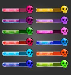 Big set game resource bar with cartoon skulls vector