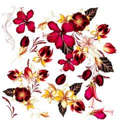big set realistic flowers for design vector image