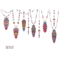 Boho Abstract Design with Bird Feather and Beads vector