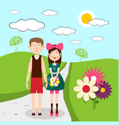 Boy and girl - man and woman on meadow with vector