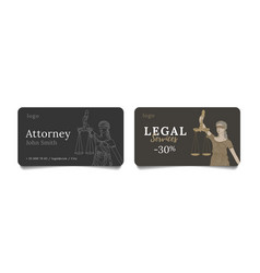 Business cards for law firm or attorney with line vector