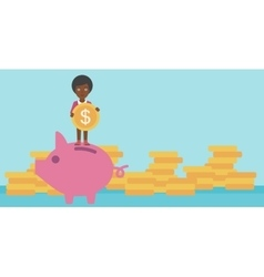Business woman putting coin in piggy bank vector image