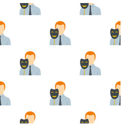 Businessman holding fake mask smile pattern flat vector
