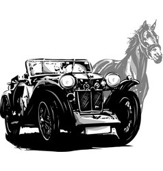 Car with horse wedding invitation vintage design vector