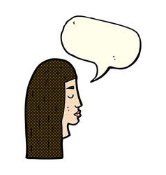 cartoon female face profile with speech bubble vector image