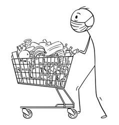 Cartoon man wearing face mask pushing shopping vector
