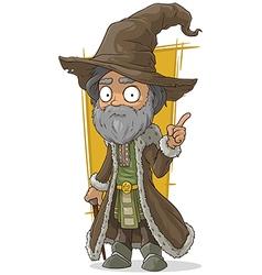 Cartoon old wizard in brown hat vector
