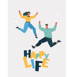 cheery young couple jumping together vector image