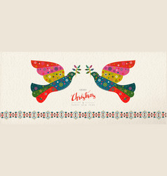 Christmas and new year scandinavian bird banner vector