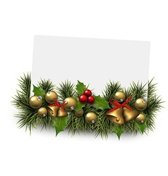 Christmas paper card background with fir twigs vector image