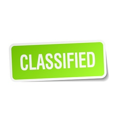 Classified green square sticker on white vector