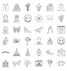 cocktail icons set outline style vector image vector image