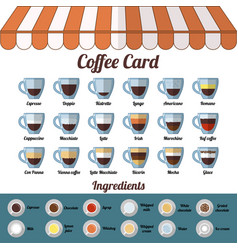 Coffee card and ingredients isolated objects on vector