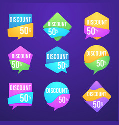 Collection bright discount bubble tags banners vector