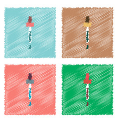 Collection of flat shading style icons pipette vector