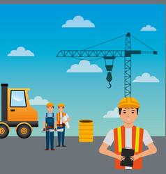 construction workers truck crane barrel and sky vector image