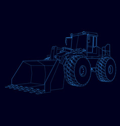 Contour bulldozer from blue lines on a vector