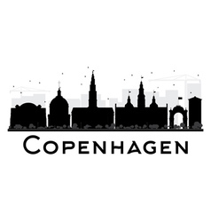 Copenhagen city skyline black and white silhouette vector