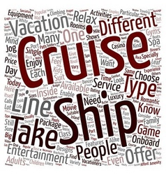 cruise ship text background wordcloud concept vector image