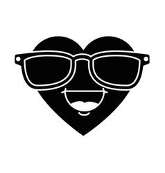 cute heart with sunglasses kawaii character vector image