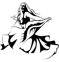 Dancing woman - black outline vector