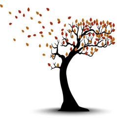 Decorative Autumn Tree Silhouette With Brown Leave vector image