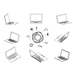 drawing of laptop vector image