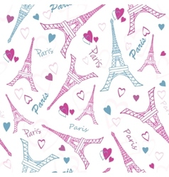 Eifel Tower Paris Love Pink Grey Drawing vector image