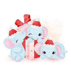 Elephants playing with gift box and wearing santa vector