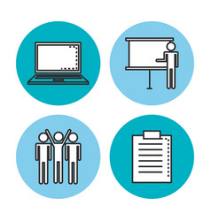 Engage business set icons vector