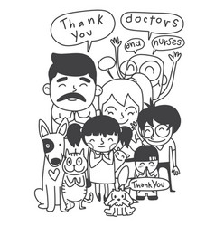 Family holding banners for thank you doctors vector