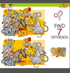 Find differences with mice animal characters vector
