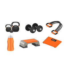 Fitness accessories and stuff for a healthy vector