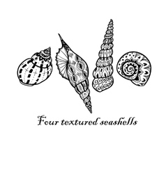 Four black doodle seashells vector image