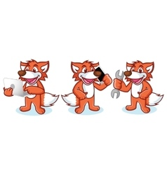 Fox Mascot with phone vector