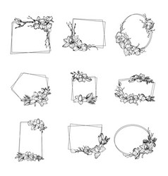 Frame with magnolia flowers leaves and branches vector