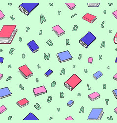 Fun seamless pattern with cartoon books vector
