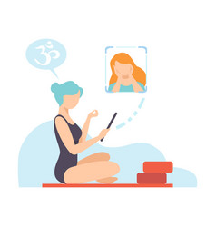 girl doing yoga workout with teacher online vector image