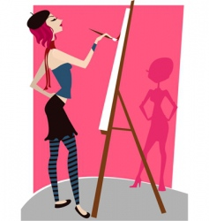girl painting vector image