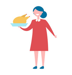 Girl with turkey in bow icon vector