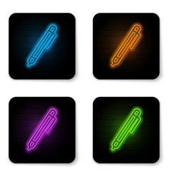 glowing neon pen line icon isolated on white vector image